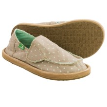 Sanuk Hot Dotty Chambray Shoes - Slip-Ons (For Little Girls) in Natural/Mint Dots - Closeouts