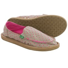 Sanuk Hot Dotty Chambray Shoes - Slip-Ons (For Women) in Natural/Hot Pink Dots - Closeouts
