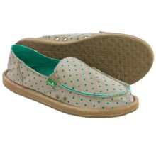 Sanuk Hot Dotty Chambray Shoes - Slip-Ons (For Women) in Natural/Hot Turquoise Dots - Closeouts