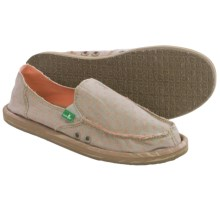 Sanuk Hot Dotty Chambray Shoes - Slip-Ons (For Women) in Natural/Peach Dots - Closeouts
