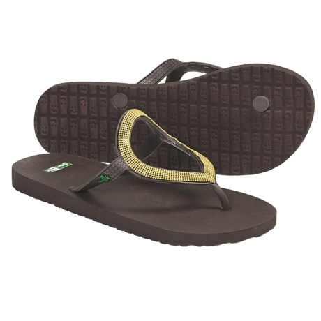 Sanuk Ibiza St. Tropez Flip-Flops (For Women) in Brown/Gold