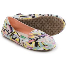 Sanuk Palmtastic Shoes - Slip-Ons (For Women) in Peach/Multi - Closeouts
