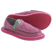 Sanuk Pick Pocket Tee Shoes - Slip-Ons (For Big Girls) in Fuchsia Stripes - Closeouts