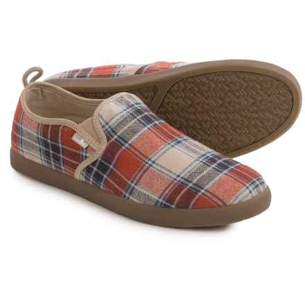 Sanuk Range Funk Shoes - Slip-Ons (For Men) in Rust Plaid - Closeouts
