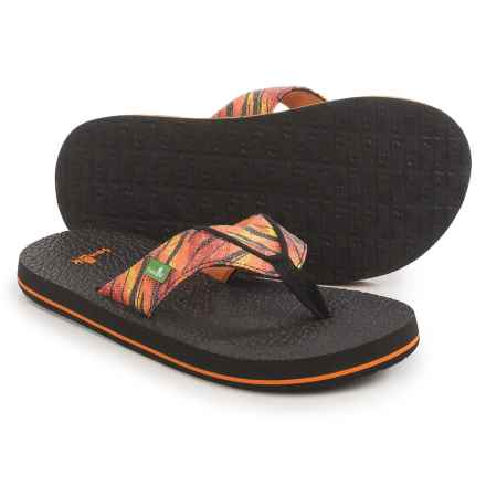 Sanuk Root Beer Cozy Funk Flip-Flops (For Little and Big Boys) in Red Yellow/Black Slash - Closeouts