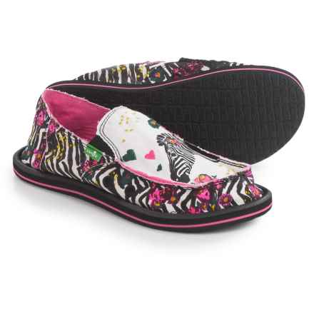 Sanuk Scribble II Shoes - Slip-Ons (For Big Girls) in Zebra Floral - Closeouts