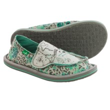 Sanuk Scribble II Shoes - Slip-Ons (For Little Girls) in Leopard Floral - Closeouts