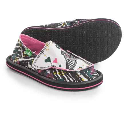 Sanuk Scribble II Shoes - Slip-Ons (For Little Girls) in Zebra Floral - Closeouts