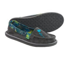 Sanuk Shorty Hawaii Shoes - Canvas, Slip-Ons (For Women) in Charcoal/Ocean Tropical - Closeouts