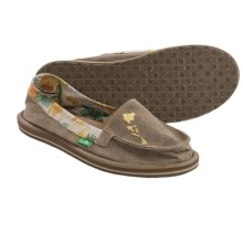 Sanuk Shorty Hawaii Shoes - Canvas, Slip-Ons (For Women) in Tan/Floral - Closeouts