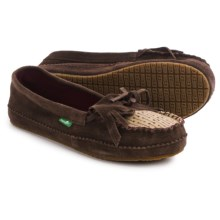 Sanuk Shy Anne Suede Moccasins - Slip-Ons (For Women) in Chocolate - Closeouts