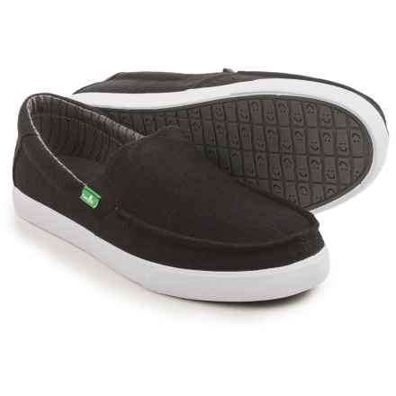 Sanuk Sideline TX Shoes - Slip-Ons (For Men) in Black Linen - Closeouts