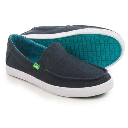 Sanuk Sideline TX Shoes - Slip-Ons (For Men) in Navy Linen - Closeouts