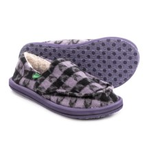 Sanuk Sleep Over Slippers (For Little and Big Girls) in Purple Black Checks - Closeouts