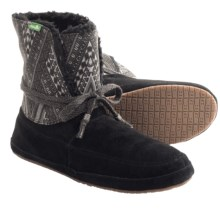 Sanuk Soulshine Chill Boots - Suede-Canvas (For Women) in Black - Closeouts