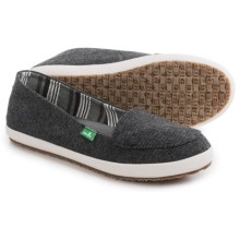 Sanuk The Boardwalk Canvas Shoes - Slip-Ons (For Women) in Black - Closeouts