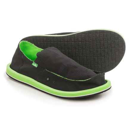 Sanuk Vagabond Nights Shoes - Slip-Ons (For Men) in Black/Lime - Closeouts