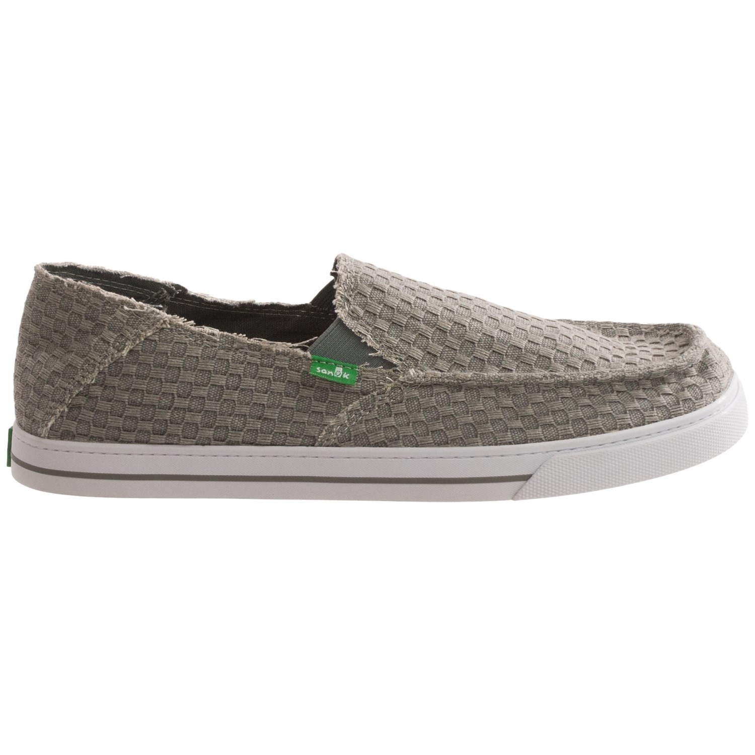 Casual slip-on has double side stretch for easy on/off. Cushioned insole and lightweight fl exible sole. Manmade. Imported. Men's whole sizes only; half sizes order next larger size; M, W, XW widths.