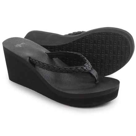 Sanuk Yoga Braided Wedge Sandals (For Women) in Black - Closeouts