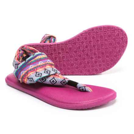 Sanuk Yoga Sling Burst Prints Sandals (For Girls) in Magenta/Multi Tribal Stripe - Closeouts