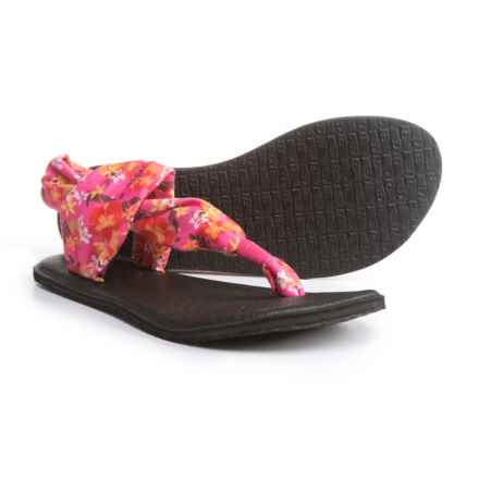 Sanuk Yoga Sling Burst Prints Sandals (For Girls) in Paradise Pink/Waikiki Floral - Closeouts
