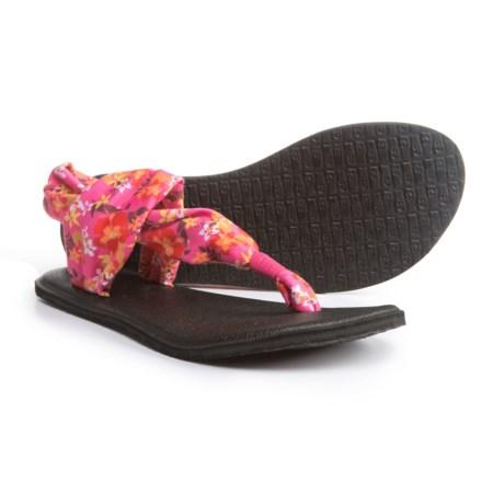 Sanuk Yoga Sling Burst Prints Sandals (For Girls) in Paradise Pink/Waikiki Floral