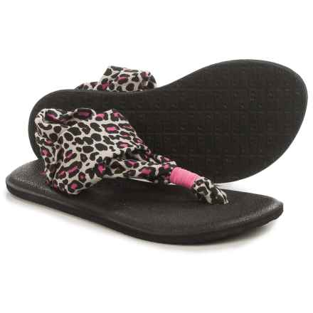 Sanuk Yoga Sling Burst Sandals (For Little and Big Girls) in Black Fuchsia Cheetah - Closeouts