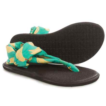 Sanuk Yoga Sling Burst Sandals (For Little and Big Girls) in Turquoise Banana - Closeouts