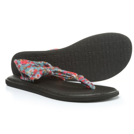 Sanuk Yoga Sling Ella Prints Sandals (For Women) in Lead Grey/Itsy Ditsy Floral