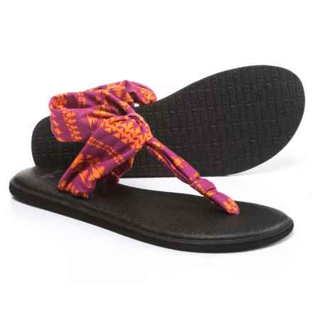 Sanuk Yoga Sling Ella Prints Sandals (For Women) in Vivid Violet/Orange Koa Tribal - Closeouts