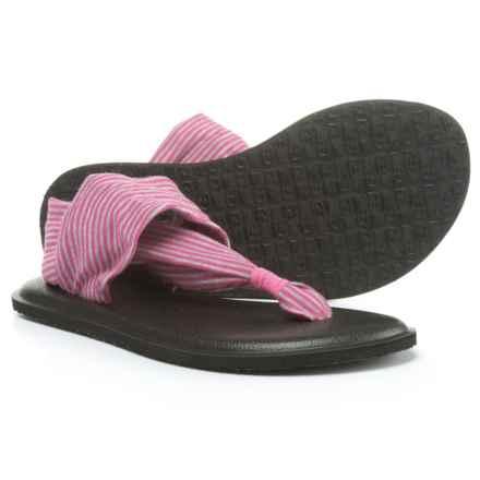 Sanuk Yoga Sling Sandals (For Girls) in Fuchsia/Purple Stripes - Closeouts