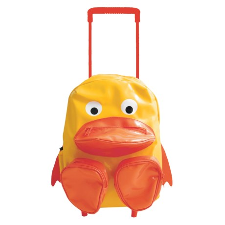 Sassafras Duck Animal Friends Rolling Backpack (For Kids) in Yellow/Orange