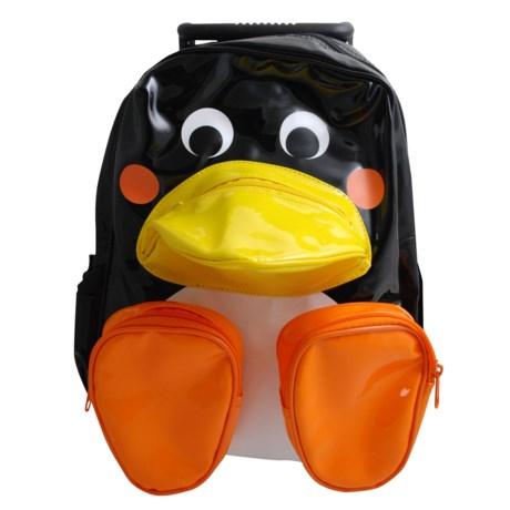 Sassafras Penguin Animal Friends Rolling Backpack (For Kids) in Black/White/Orange