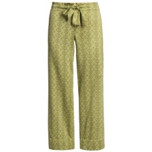 Satin Sleepwear Pants (For Women) in Light Green W/Lime - 2nds