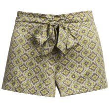 Satin Sleepwear Shorts (For Women) in Taupe W/Lime - 2nds