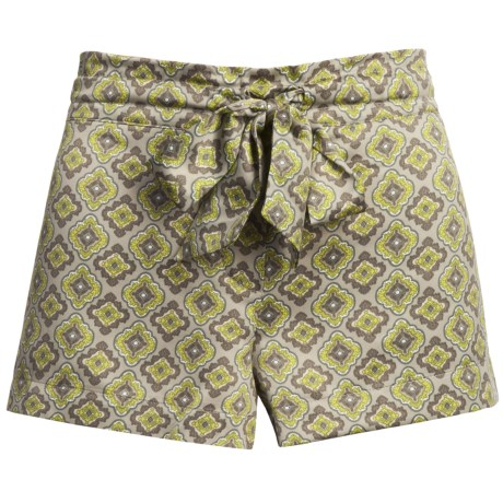 Satin Sleepwear Shorts (For Women) in Taupe W/Lime