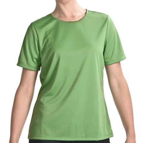 Satin Trim Crew Neck T-Shirt - Short Sleeve (For Women) in Medium Green
