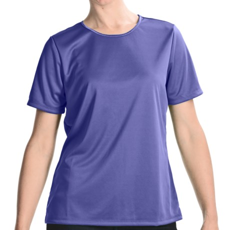 Satin Trim Crew Neck T-Shirt - Short Sleeve (For Women) in Periwinkle