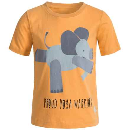 Satva Animal Yoga Pose T-Shirt - Organic Cotton, Short Sleeve (For Toddler Girl) in Beeswax/Elephant - Closeouts