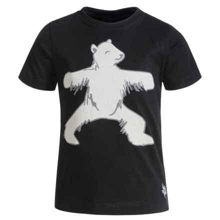 Satva Animal Yoga Pose T-Shirt - Organic Cotton, Short Sleeve (For Toddler Girl) in Black/Bear - Closeouts