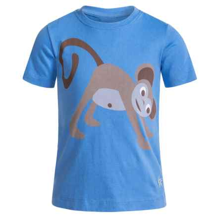 Satva Animal Yoga Pose T-Shirt - Organic Cotton, Short Sleeve (For Toddler Girl) in Marina Blue/Monkey - Closeouts