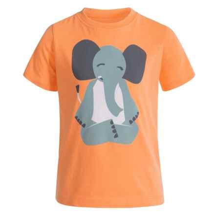 Satva Animal Yoga Pose T-Shirt - Organic Cotton, Short Sleeve (For Toddler Girl) in Mock Orange/Elephant - Closeouts