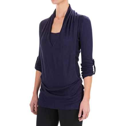 Satva Devi Draped Sweater - Organic Cotton, 3/4 Sleeve (For Women) in Deep Purple - Closeouts