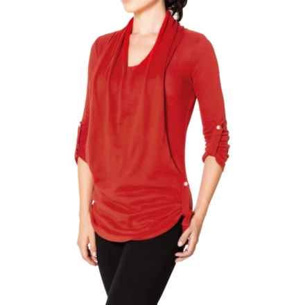 Satva Devi Draped Sweater - Organic Cotton, 3/4 Sleeve (For Women) in Molten Lava - Closeouts