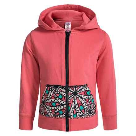Satva Himani Front-Zip Hoodie - Organic Cotton (For Toddler Girls) in Rose Of Sharon - Closeouts