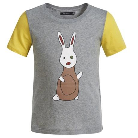 Satva Organic Cotton Color-Block T-Shirt - Short Sleeve (For Toddler Girls) in Heather Grey