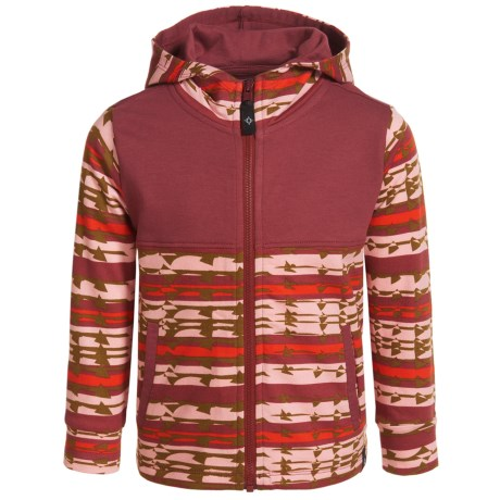 Satva Organic Cotton-Modal Ringer Hoodie - Full Zip (For Toddler Girls) in Aztec Print