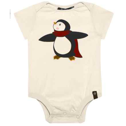 Satva The Onezie Baby Bodysuit - Organic Cotton, Short Sleeve (For Infants) in Whtie/ Penguin - Closeouts