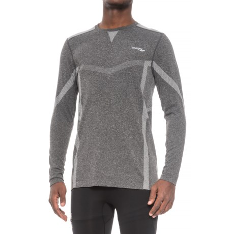 Saucony Active T-Shirt - Seamless Sides, Long Sleeve (For Men) in Light Grey Heather