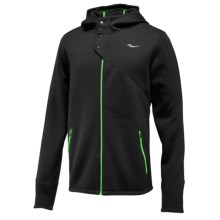Saucony Aerospacer Hooded Jacket - Full Zip, Long Sleeve (For Men) in Black - Closeouts